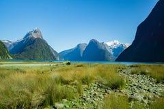 fiordland milford主教国家新的公园峰顶听起来西兰 免版税库存照片