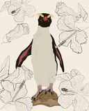 Penguin among hibiscus flowers royalty free illustration