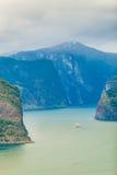 Fiordo de Aurland del punto de opinión de Stegastein, Noruega Fotografía de archivo