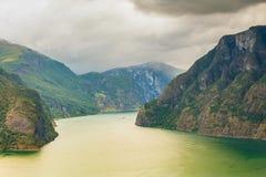 Fiordo de Aurland del punto de opinión de Stegastein, Noruega Fotografía de archivo libre de regalías