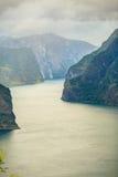 Fiordo de Aurland del punto de opinión de Stegastein, Noruega Foto de archivo libre de regalías