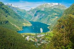 Fiordo de Geiranger, Noruega Imágenes de archivo libres de regalías
