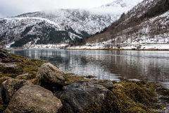Fiordo de Winterly Foto de archivo libre de regalías