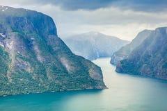 Fiordo di Aurland dal punto di vista di Stegastein, Norvegia Fotografie Stock Libere da Diritti