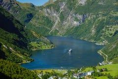 Fiordo di Geiranger, bella natura Norvegia Fotografia Stock Libera da Diritti