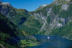 Fiordo di Geiranger, bella natura Norvegia Immagine Stock