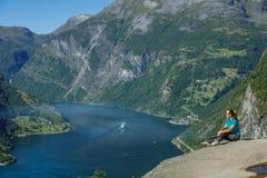 Fiordo di Geiranger, bella natura Norvegia Fotografia Stock