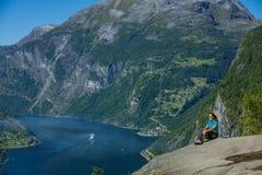 Fiordo di Geiranger, bella natura Norvegia Immagine Stock Libera da Diritti