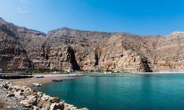 Fiordos de Musandam cerca de Khasab en Omán foto de archivo libre de regalías