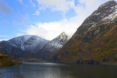 Fiordos y montañas noruegos foto de archivo