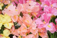 Fiore artificiale arancio, rosa e giallo Fotografie Stock