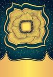 Fiore astratto dell'oro di scarabocchio su fondo scuro Immagine Stock