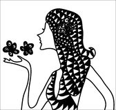 Fiore astratto della ragazza illustrazione di stock