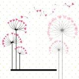 Fiore astratto di amore sulla priorità bassa del puntino di Polka Fotografie Stock Libere da Diritti