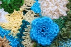 Fiore blu del Crochet Fotografia Stock Libera da Diritti