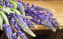 Fiore blu del lupino sulla tavola Immagini Stock Libere da Diritti