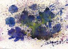 Fiore blu dell'acquerello con gli effetti della spruzzata Fotografia Stock Libera da Diritti