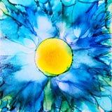Fiore blu dell'inchiostro dell'alcool illustrazione di stock