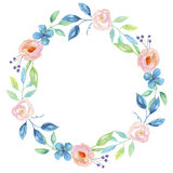 Fiore blu Garland Floral Wreath dipinto a mano dell'acquerello Immagini Stock