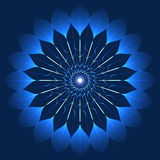 Fiore blu mistico nello stile del caleidoscopio Fotografie Stock