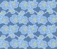 Fiore blu sul modello verde Fotografia Stock Libera da Diritti