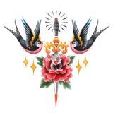 Fiore, coltello e sorsi dell'acquerello royalty illustrazione gratis