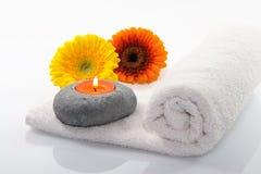 Fiore con la candela Fotografia Stock