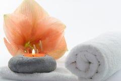 Fiore con la candela Fotografia Stock Libera da Diritti