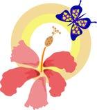 Fiore con la farfalla illustrazione vettoriale