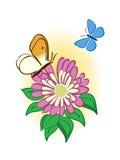 Fiore con le farfalle Illustrazione Vettoriale