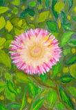 Fiore contro i fogli. Dissipare un colore di acqua Immagine Stock Libera da Diritti