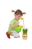 Fiore d'innaffiatura della ragazza sveglia Fotografie Stock Libere da Diritti