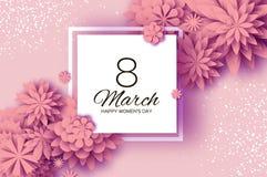 Fiore da taglio di carta rosa 8 marzo Cartolina d'auguri del giorno delle donne Mazzo floreale di origami Blocco per grafici quad Immagini Stock Libere da Diritti