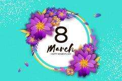 Fiore da taglio di carta rosa 8 marzo Cartolina d'auguri del giorno delle donne Mazzo floreale di origami Struttura del cerchio t Fotografia Stock Libera da Diritti