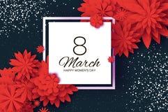 Fiore da taglio di carta rosso 8 marzo Cartolina d'auguri del giorno delle donne Mazzo floreale di origami Blocco per grafici qua Fotografie Stock