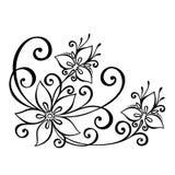 Fiore decorativo con le foglie Immagini Stock
