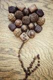 Fiore del cioccolato su un fondo di legno Fotografia Stock Libera da Diritti