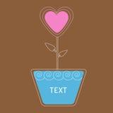 Fiore del cuore di vettore in vaso. Carta Immagine Stock Libera da Diritti