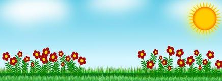 Fiore del fondo nel prato illustrazione di stock