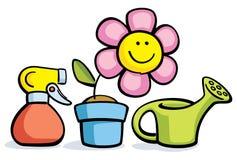 Fiore del fumetto in vaso con l'annaffiatoio e lo spruzzatore illustrazione vettoriale