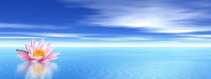 Fiore del giglio in oceano blu illustrazione vettoriale
