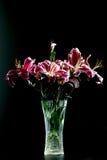 Fiore del giglio in vaso di vetro fotografia stock libera da diritti