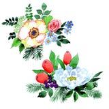 Fiore del mazzo in uno stile dell'acquerello isolato Fotografia Stock Libera da Diritti