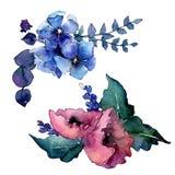 Fiore del mazzo in uno stile dell'acquerello isolato Immagini Stock Libere da Diritti