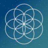Fiore del simbolo di vita su un interlockin cosmico del turchese e del blu royalty illustrazione gratis