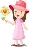 Fiore del sole della holding della ragazza Immagini Stock Libere da Diritti