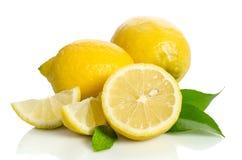 Fiore dell'albero di limoni e un limone Fotografie Stock Libere da Diritti