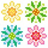 Fiore dell'icona di arte del pixel dell'illustrazione illustrazione di stock