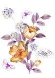 Fiore dell'illustrazione dell'acquerello nel fondo semplice Fotografie Stock