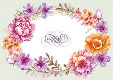 Fiore dell'illustrazione dell'acquerello nel fondo semplice Immagini Stock Libere da Diritti